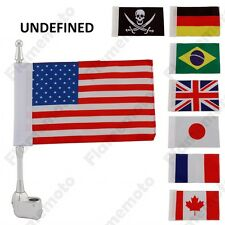 "11"" Motorcycle Silver Antenna Flag Mount With Flag Cruiser Custom Bobber Chopper"