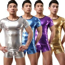 Sexy Mens Metallic T-shirt Tank Top Shiny Muscle Underwear Undershirt Clubwear
