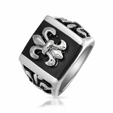 Mens Stainless Steel Black Enamel Square Fleur De Lis Ring