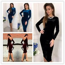 New Sexy Ladies Bodycon Evening Party Cocktail Dress Long Sleeve Velvet Dress