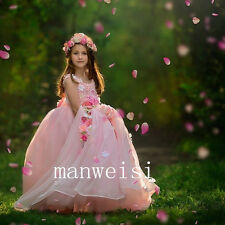Pink Flower Girl Dress Princess Pageant Bridesmaid Dresses Party Sleeveless Gown