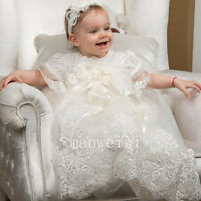 New Lace Baby Christening Applique Soft Baptism Toddler Gown Custom With Bonnet