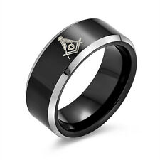 Freemason Mens Black Tungsten Masonic Ring Beveled Edge