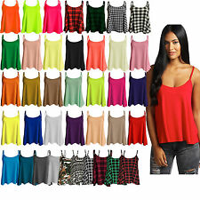 New Womens Plain Swing Cami Vest Sleeveless Top Strappy Ladies Plus Size Flared