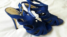 Dorothy Perkins Strappy Suede Effect Blue Heeled Sandals Size 5/38 Stiletto