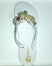 Bridal Flip Flops, Bridal White Satin Flip Flops, Hand made Flower with Brooch