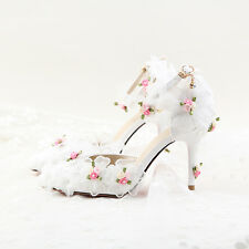 Womens Ankle Strap Round Toe Lace Flower Platform High Heel Wedding Shoes Party