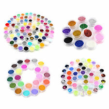 12/24/48/84 Colors Nail Art Glitter Powder Dust For UV Gel Acrylic Decor Set