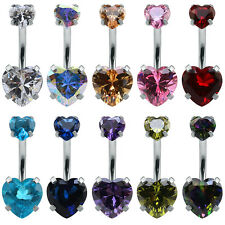 Double Heart Zircon Belly Navel Piercing Surgical Steel Belly Button Rings body