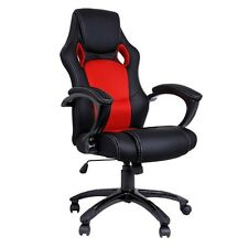 Executive PU Leather Office Computer Chair Black Red