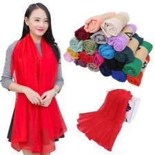 Women Candy Colors Long Soft Cotton Chiffon Scarf Wrap Shawl Pashmina 180x100cm]