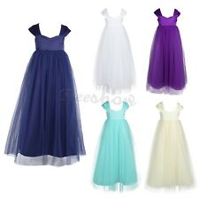 Baby Girls Flower Straps Tulle Dress Kids Pageant Wedding Bridesmaid Party Gown