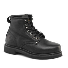 "Mens Black 6"" Plain Toe Leather Work Steel Toe Boots BONANZA 615 Size 5-13 (D,M)"