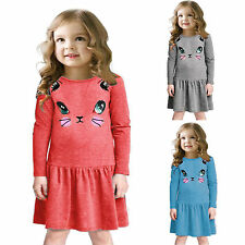 Fashion Kid Girl Cartoon Cat Print Long Sleeve Party Dress Summer Pleated Dress