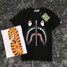 Men's Bape Tiger Head Fake Zipper Design Shark Jaw Head a bathing ape T-Shirt