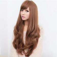 New Fashion Womens Lady Long Curly Wavy Hair Full Wigs Cosplay Party Brown FS#