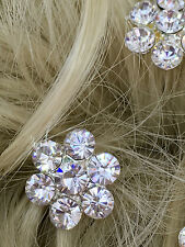 Bridal Wedding large  clear  flower Crystal Diamante Hair Pins Clips  x 6 pc UK