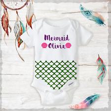 Personalized Name Mermaid Pink Shells Sparkle Tail Onesie baby girl Shower gift