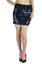 Skirt S M L Sequin Navy Blue Disc Sparkling Jersey Banded Waist Knit Mini Sexy