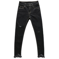 Girls Fashion Ripped Rolled Up Full Length Skinny Jeans Slim Fitted Pencil Pants