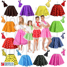 **Ladies POLKA DOT ROCK AND ROLL 50s SKIRT & SCARF FANCY DRESS COSTUME Hen Party