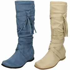 Ladies Spot On Calf High Boots - Hollie