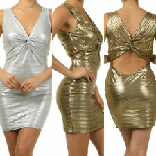 New S M L Cocktail Dress Gold Silver Mini Metallic Keyhole Knot Open Backside
