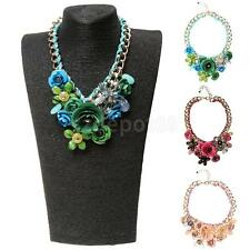 Women Big Link Chain Attractive Crystal Flower Bib Statement Necklace Choker