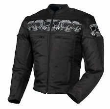 MEN'S MOTORCYCLE TEXTILE JACKET WITH EMBROIDERED REFLECTIVE SKULLS