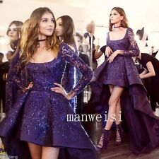 Sparkly Prom Party Gowns Hi-Low Blue Sequins Applique Beads Formal Evening Dress