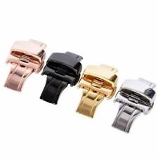 New Stainless Steel Butterfly Push Button Deployment Watch Band Buckle Clasp