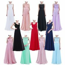 Women Ladies Embroidered Lace Chiffon Bridesmaid Dress Long Evening Prom Gown