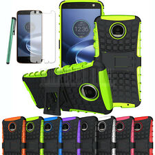 Armor Shockproof Hybrid Rubber Kickstand Case Cover For Moto Z / Z Force Droid