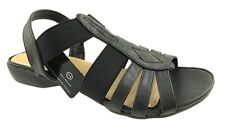 LADIES FAUX LEATHER ELASTICATED STRAPPY SANDALS BLACK SIZE 4-7