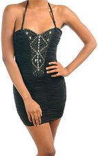 S M L Dress Cocktail Club Halter Black Ruched Beaded Sparkling Tube Dress Sexy