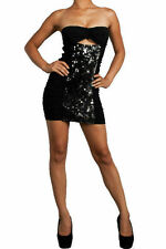 Dress Sexy Sequin Club Cocktail Metallic Strapless Tube Keyhole Ruched Stretch