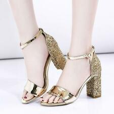 Womens Glitter High Block Heel Open Toe Pumps Ankle Strap Sandal Shoes US Size 9