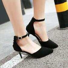 Womens Pointy Toe Pumps Roman Strappy High Heel Ankle Strap Shoes New Black 12.5