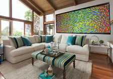 Dreaming Fish  Large Aboriginal Art Canvas Painting Australia By Jane