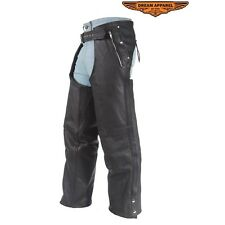 Mens Leather Chaps With Removable Liner & 3 Pockets XS To 10XL