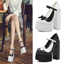 Women Bowknot Block High Heel Platform Pumps Ankle Strappy Party Shoes Stilettos