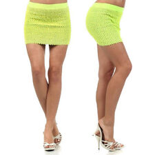 Skirt Neon Yellow Sequin Sparkling S M L Mini High Waisted Banded Stretch New