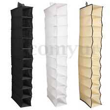 10 Section Hanging Wardrobe Storage Shoes Clothes Sweater Rack Organiser Tidy UK