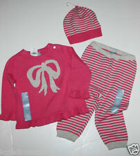 baby Gap NWT Girl 6 12 Mo Outfit Set Pink Bow Sweater + Hat + Sweater Knit Pants