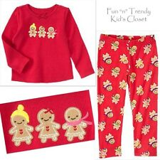 NWT Crazy 8 Girls Size 6-12 Months Leggings & Gingerbread Thermal Top 2-PC SET