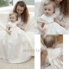 Vintage Infant Baby White Long Christening Dresses Lace Toddler Baptism Gowns