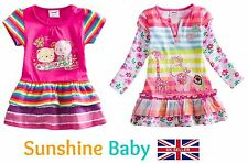 Girls Toddler Baby Cotton Short Long Sleeve Tunic T-Shirt Rainbow Dress 1-5 Yrs