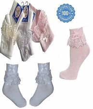 New Kids Girls Womens Bow Beads sox Frilly Lace Ankle Anklet Socks 6 Pairs