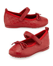 NIB NEW Gucci girls Ali GG Leather Ballerina Mary Janes Red White 22 23 24