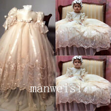 Baby Girl Embroidery Christening Champagne Toddler Baptism Infant Dresses+Bonnet